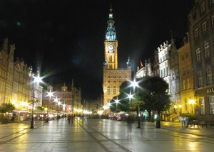 Długi Targ by night- view on the Old-Town hall